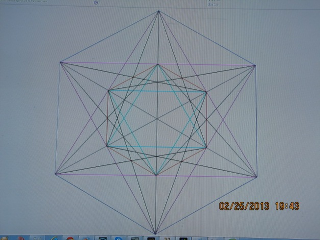 This is Metatron's cube. It contains the five known geometric solids: Tetrahedron Octahedron  Decahedron Dodecahedron Icosahedron It is also the blueprint of mankind. It shows the 6 electrons, 6 protons, and 6 neutrons of the carbon atom that makes up all animated life forms, specifically man.